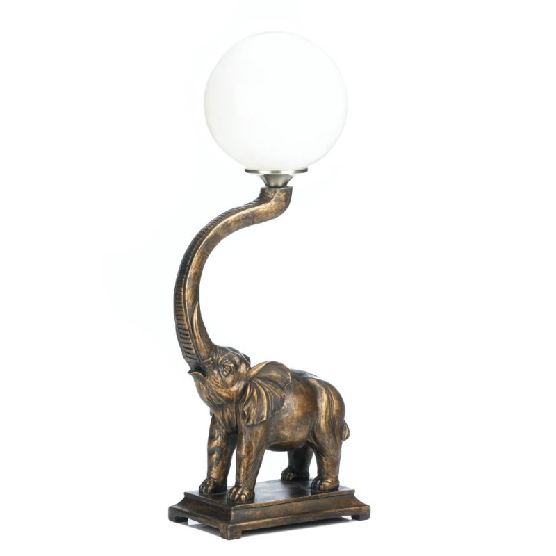 Image 1 of Trumpeting Elephant with White Globe Figural Table Lamp