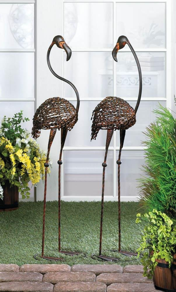 Image 0 of Set of 2 Wild Flamingo Iron Garden Stakes