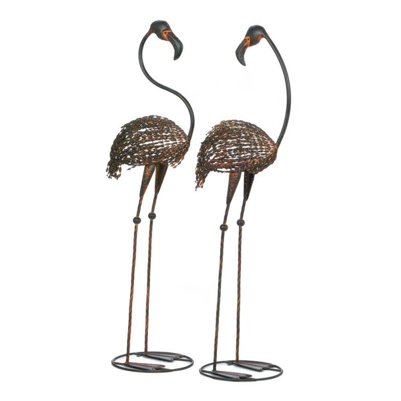 Image 1 of Set of 2 Wild Flamingo Iron Garden Stakes