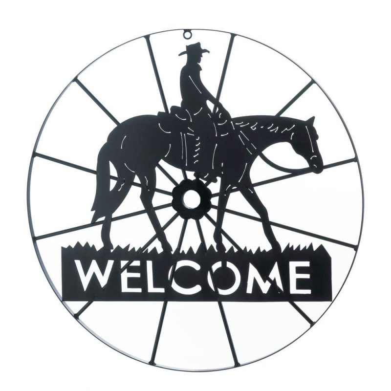 Image 0 of Wagon Wheel Design Cowboy Welcome Sign Black Iron Wall Mounted
