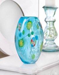 Blue Floral Art Glass Vase