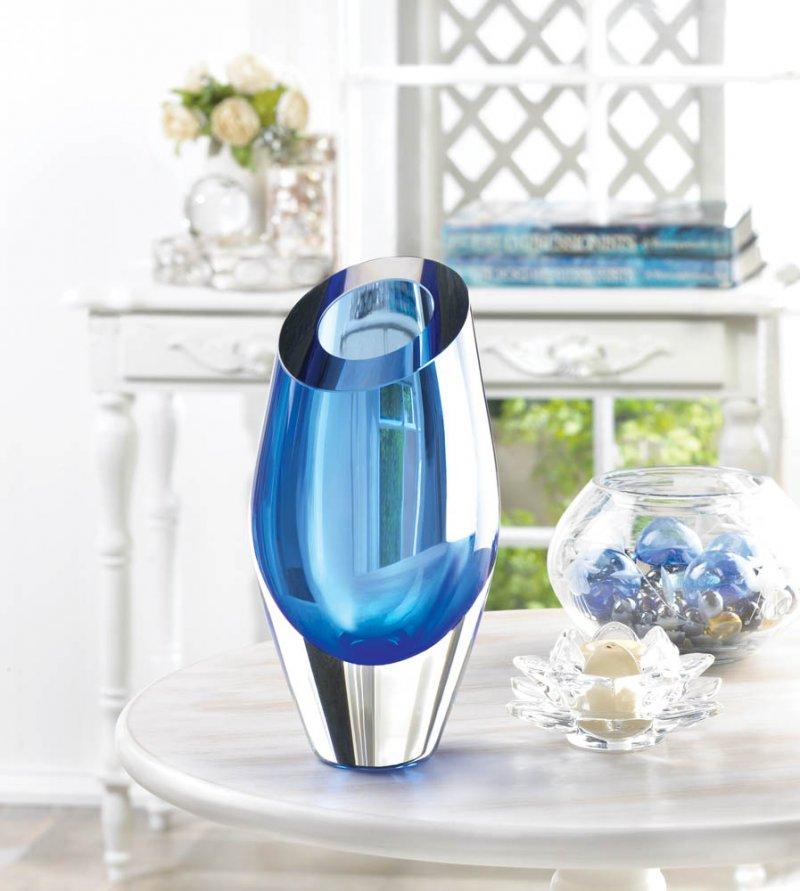 Image 0 of Angled Cut Top Blue Art Glass Decorative Vase