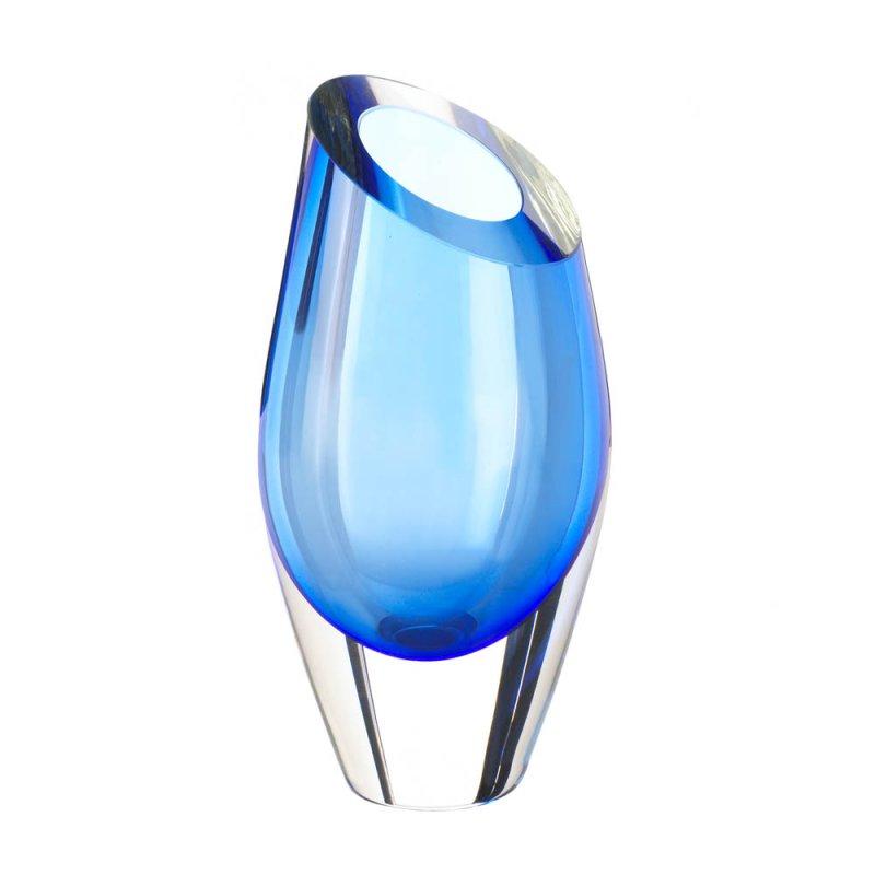 Image 1 of Angled Cut Top Blue Art Glass Decorative Vase