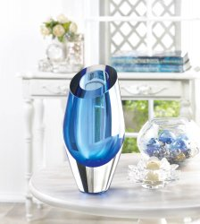 Angled Cut Top Blue Art Glass Decorative Vase