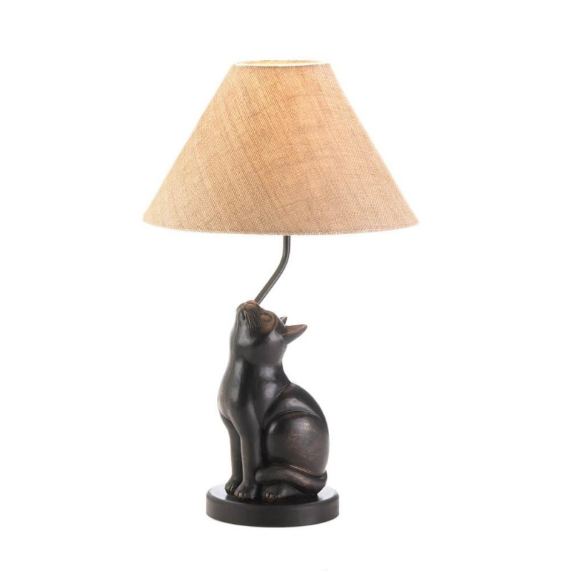 Image 0 of Sitting Cat Table Lamp Neutral Color Cloth Shade