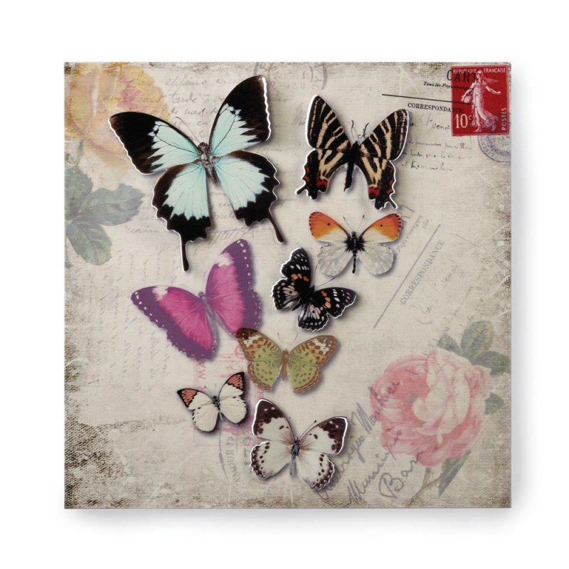 Image 0 of Butterfly Postcard 3D Iron Wall Art Floral Background