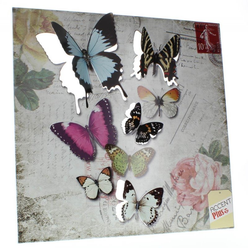 Image 1 of Butterfly Postcard 3D Iron Wall Art Floral Background