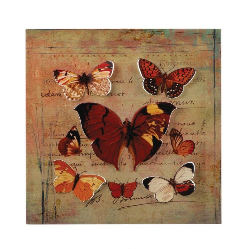 Image 0 of Rustic Butterfly 3D Iron Wall Art with a Postcard Background