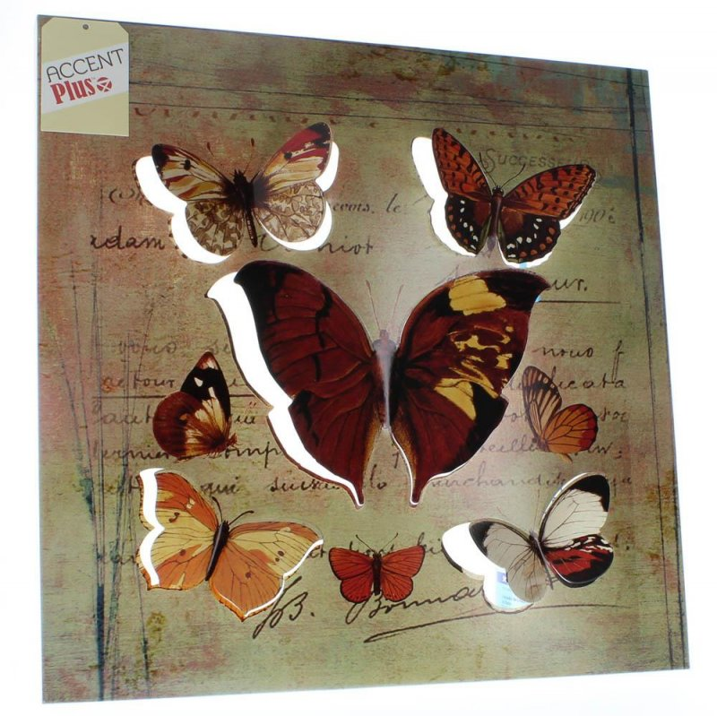 Image 1 of Rustic Butterfly 3D Iron Wall Art with a Postcard Background