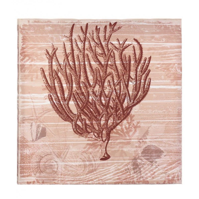 Image 0 of Seaside Red Coral Canvas Wall Art Wooden Frame Nautical Decor