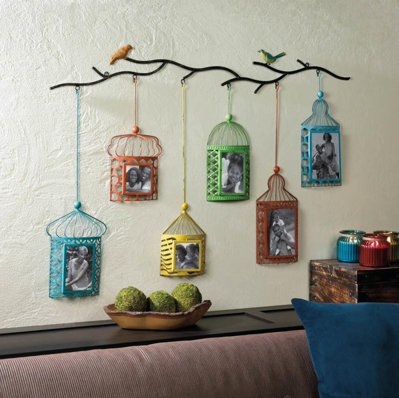 Image 0 of Six Brightly Colored Birdcages Hang From Branch 2 4x4, 2 4x6, 2 5x7 Wall Frames