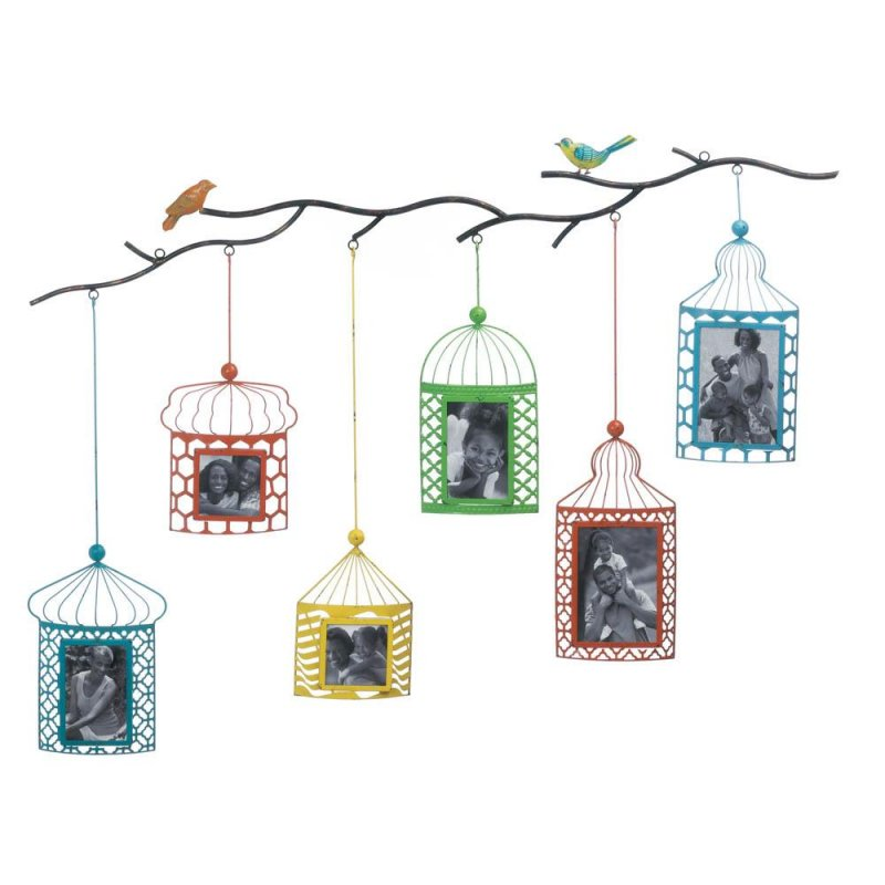 Image 1 of Six Brightly Colored Birdcages Hang From Branch 2 4x4, 2 4x6, 2 5x7 Wall Frames