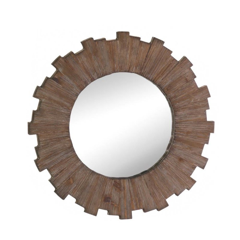 Image 0 of Swell Sunburst Round Wooden Wall Mirror Weathered Deep Brown Finish