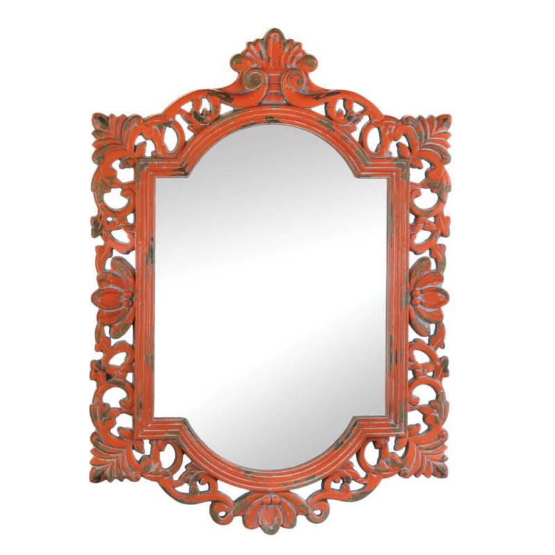 Image 0 of Vintage Style Emily Wooden Wall Mirror Distressed Coral Finish