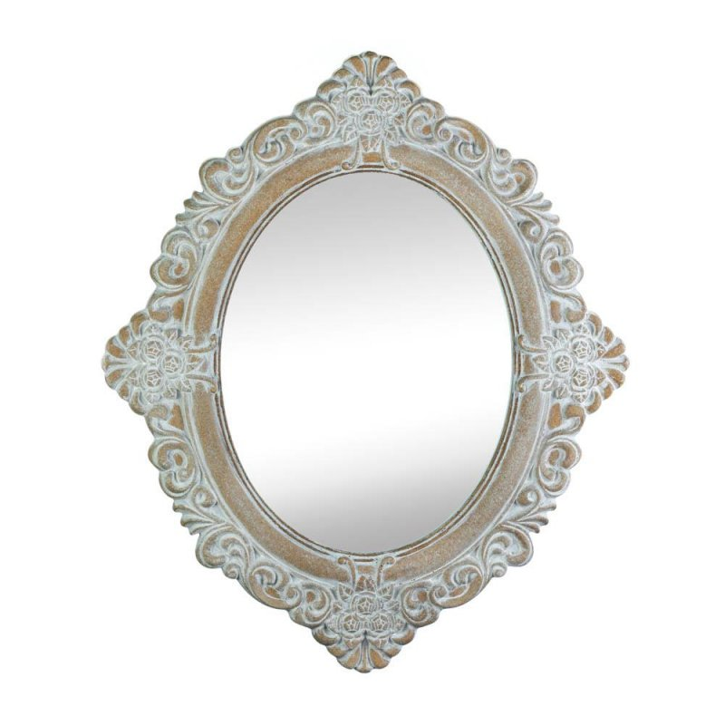 Image 0 of Vintage Style Amelia Wooden Oval Wall Mirror Distressed Ivory & Taupe Finish
