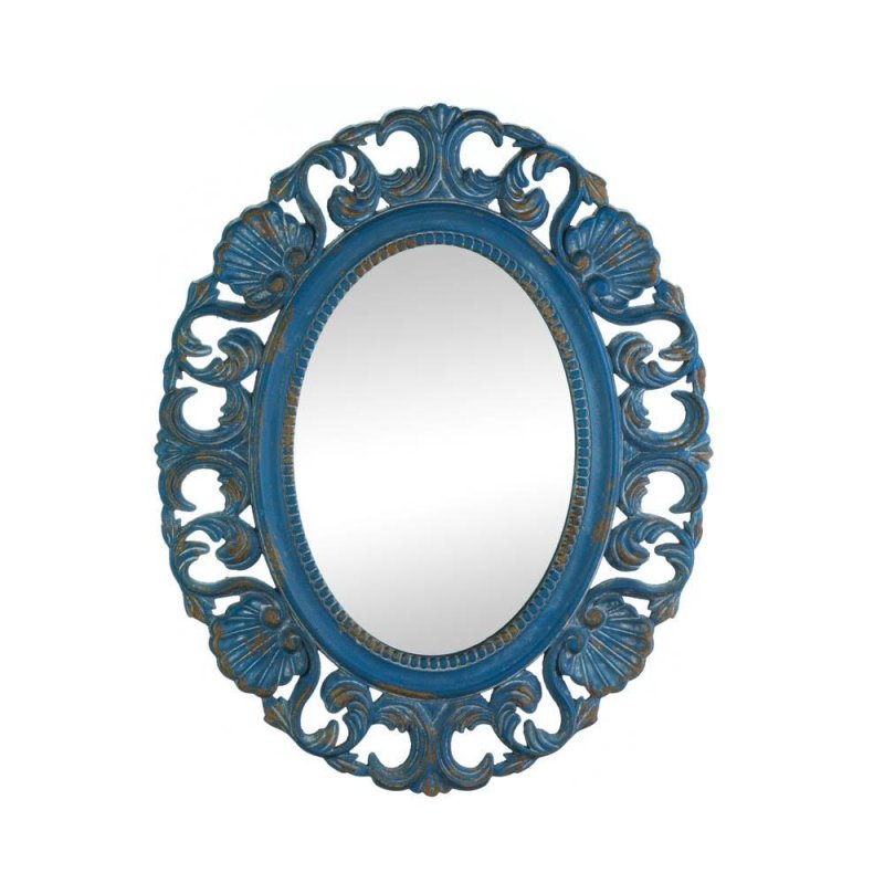 Image 0 of Vintage Style Belle Seashells Wooden Oval Wall Mirror Distressed Blue Finish