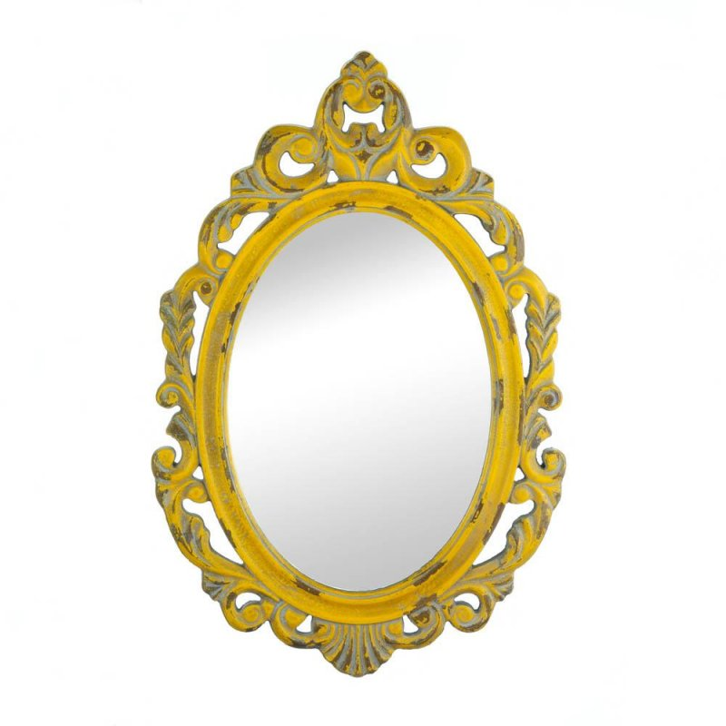 Image 0 of Vintage Style Hannah Ornate Wooden Oval Wall Mirror Distressed Yellow Finish