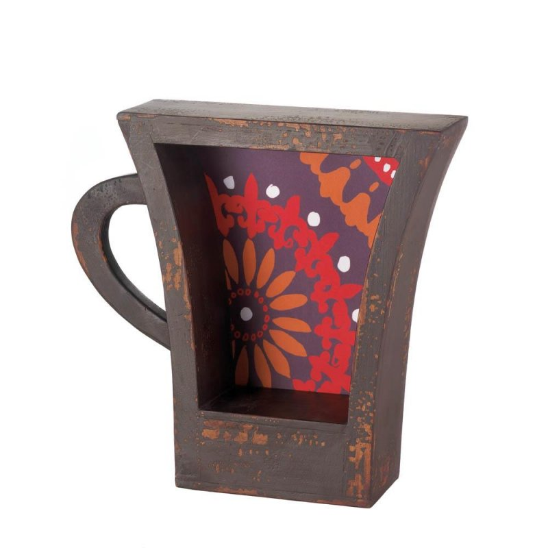 Image 0 of Weathered Brown Espresso Coffee Cup Shape Wall Shelf