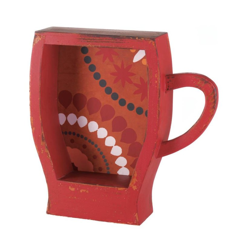 Image 0 of Distressed Red Espresso Coffee Cup Shape Wall Shelf