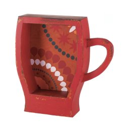 Distressed Red Espresso Coffee Cup Shape Wall Shelf