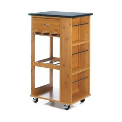 Bamboo Kitchen Cart w/ Marble Top has Drawer 2 Shelves & 3 Shelves on Side