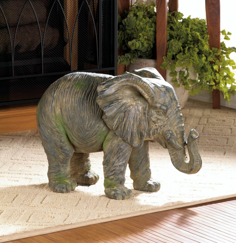 This gorgeous elephant statue looks like a timeworn treasure from across the globe!