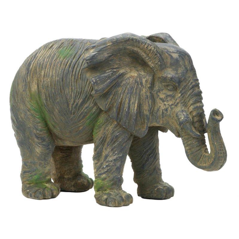 Image 1 of Weathered Elephant Figurine Statue
