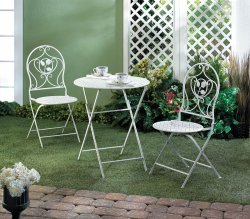 Antiqued White Table w/ 2 Matching Chairs Patio Bristro Set