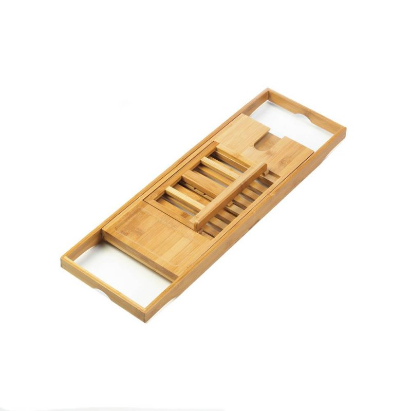 Image 1 of Bamboo Tub Caddy Expands w/ Stand up Rack for Books, Magazines