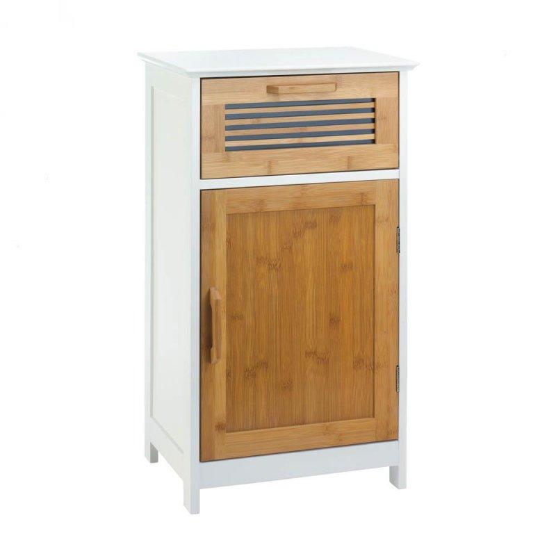 Image 0 of White Bath Storage Floor Cabinet w/ Bamboo Slat Door & Drawer & 2 Shelves