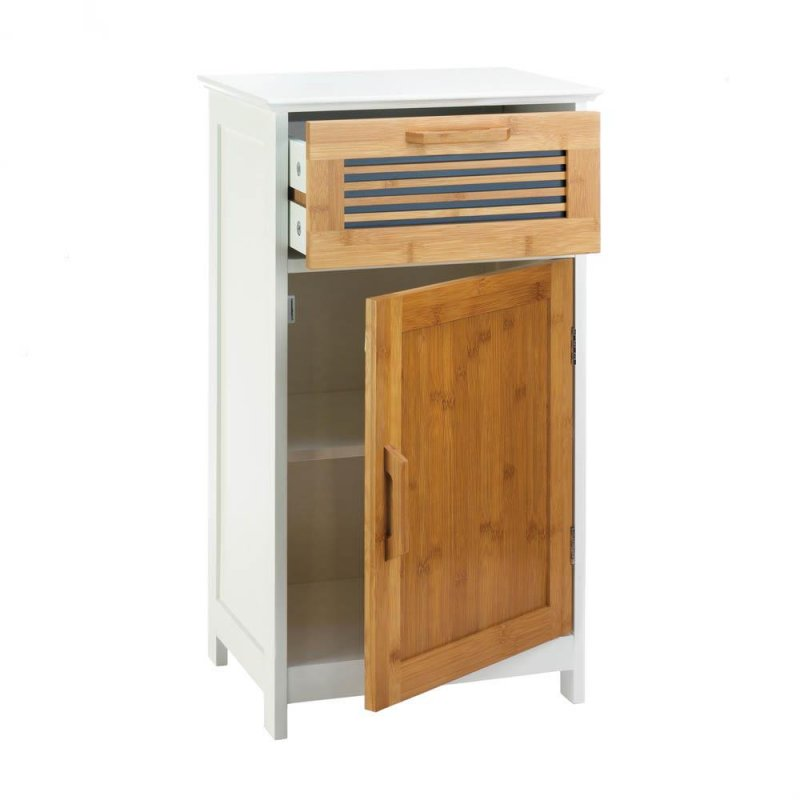 Image 1 of White Bath Storage Floor Cabinet w/ Bamboo Slat Door & Drawer & 2 Shelves