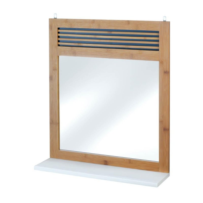 Image 0 of Bamboo Frame Wall Mirror w/ White Shelf Below for Bathroom, Hall, Bedroom