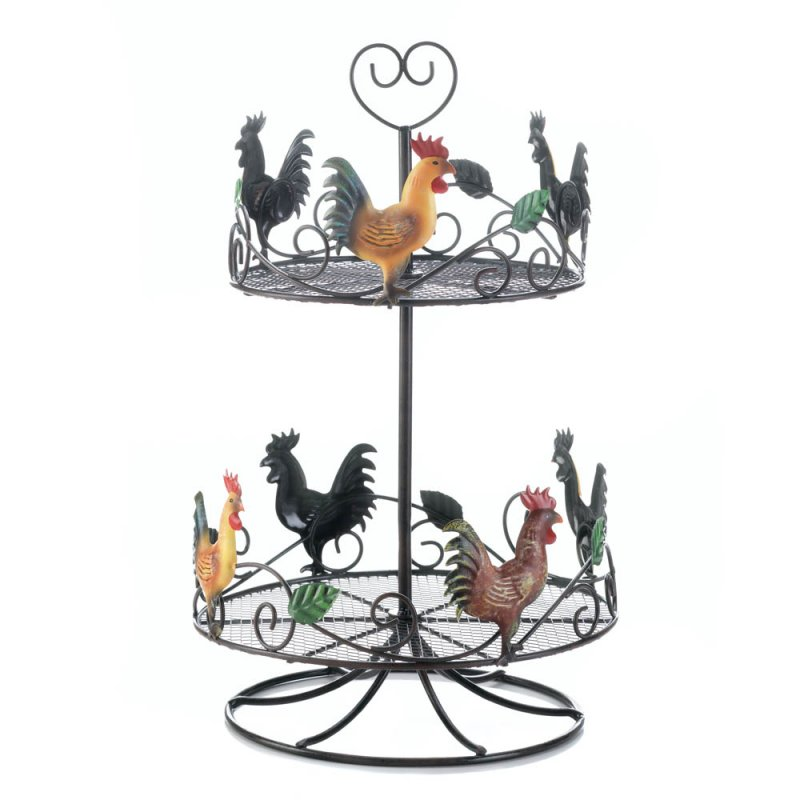 Image 1 of Colorful 2-Tier Rooster Counter Top Rack for Spices, Fruit, or Snacks