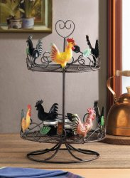 Colorful 2-Tier Rooster Counter Top Rack for Spices, Fruit, or Snacks