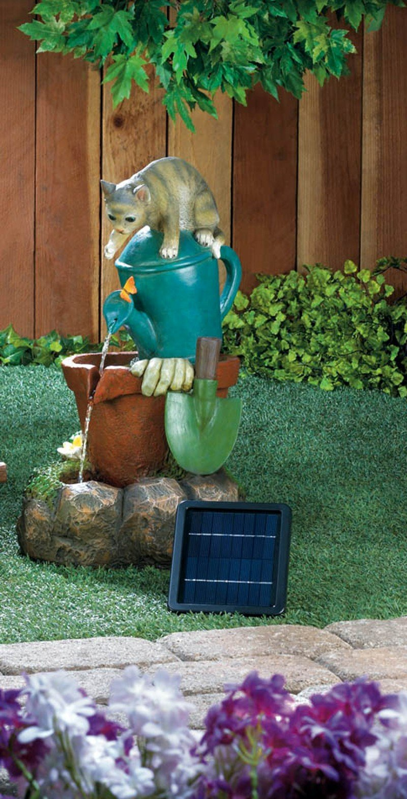 Image 0 of Kitty Cat Perched on top Watering Can Filling Flower Pot Solar Garden Fountain