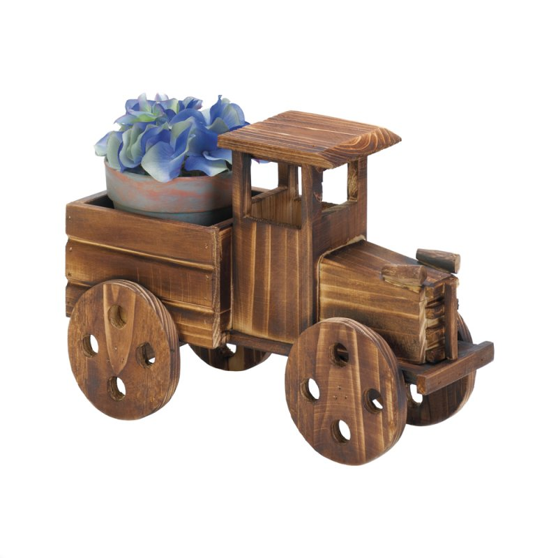 Image 2 of Rustic Antique Truck Wooden Planter indoors, Patio or Porch