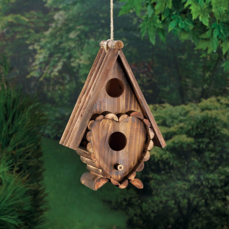 Image 1 of Steep Roof Heart Shape Decorations 2 Hole Wooden Birdhouse