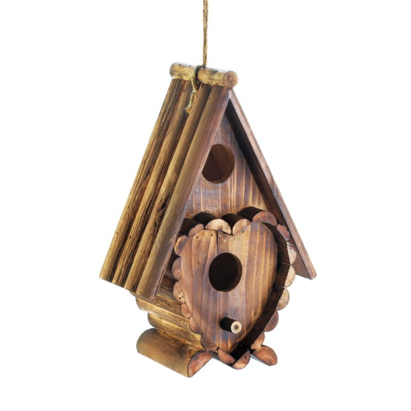 Image 2 of Steep Roof Heart Shape Decorations 2 Hole Wooden Birdhouse