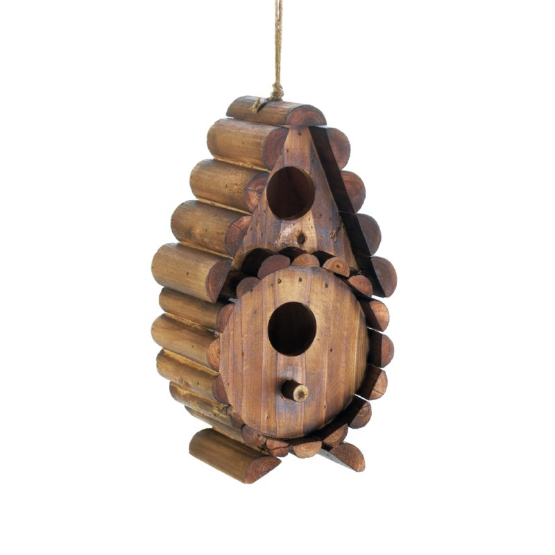 Image 1 of Rustic Round Log 2 Hole Openings Wooden Birdhouse