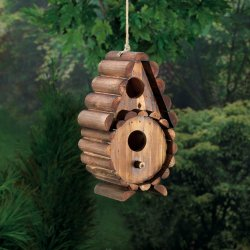 Rustic Round Log 2 Hole Openings Wooden Birdhouse