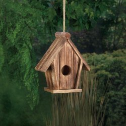 Classic Pitched Roof Rustic Wooden Birdhouse