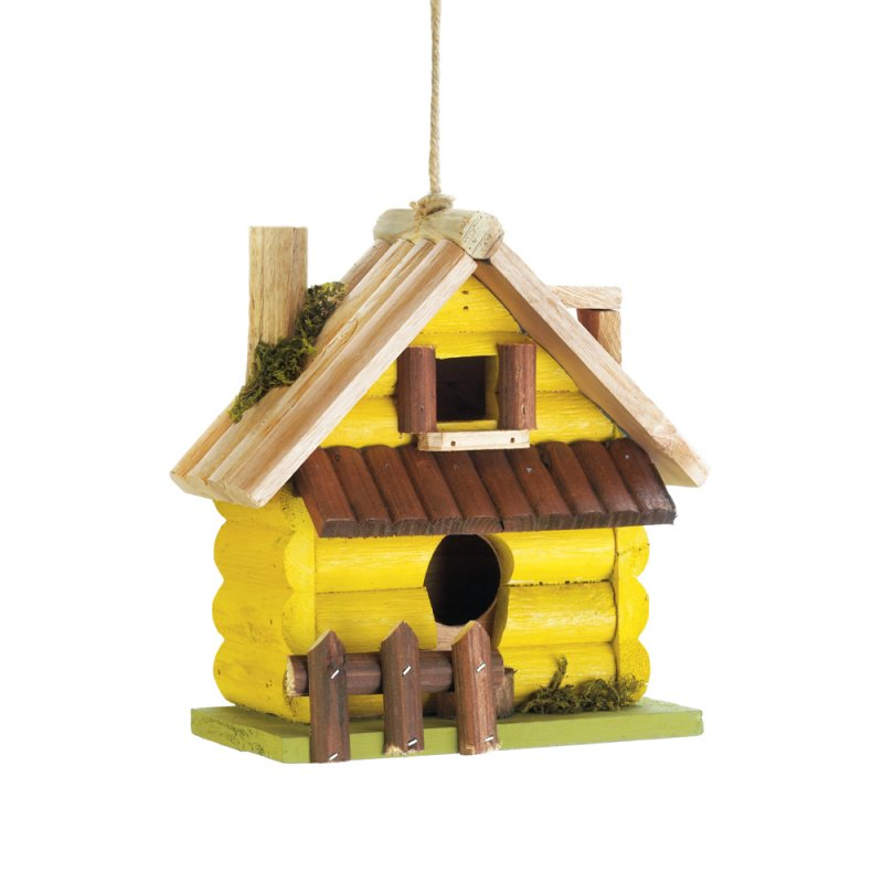 Image 1 of Yellow Log Cabin w/ Picket Fence & 2 Entrances Wooden Birdhouse