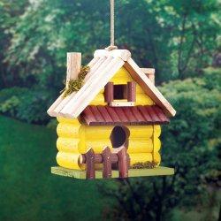 Yellow Log Cabin w/ Picket Fence & 2 Entrances Wooden Birdhouse