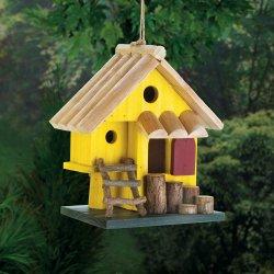 Yellow Tree Fort w/ Ladder & 3 Entrances Wooden Birdhouse