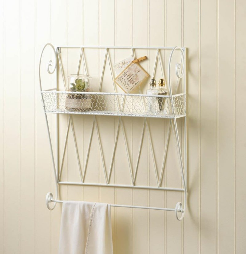 Image 0 of Whitewashed White Small Wire Basket Wall Shelf w/ Hanging Bar for Hand/Tea Towel