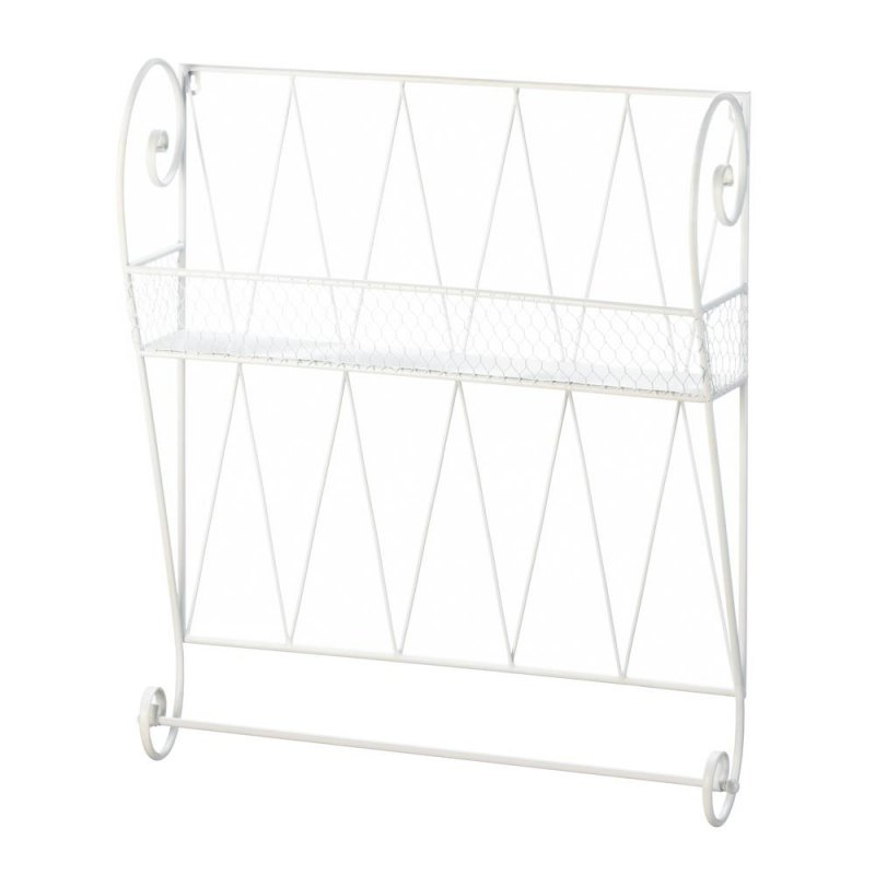 Image 1 of Whitewashed White Small Wire Basket Wall Shelf w/ Hanging Bar for Hand/Tea Towel
