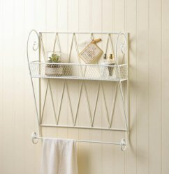 Whitewashed White Small Wire Basket Wall Shelf w/ Hanging Bar for Hand/Tea Towel