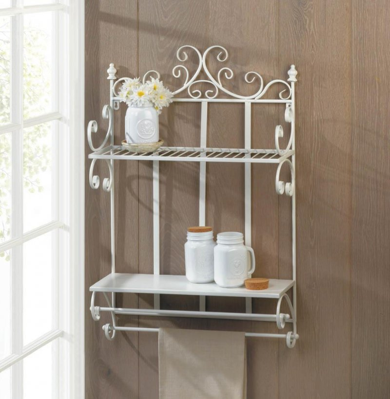 Image 0 of Regal White 2 Tier Wall Shelf w/ Hanging Bars Perfect for Bathroom or Kitchen