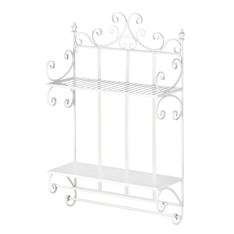 Image 1 of Regal White 2 Tier Wall Shelf w/ Hanging Bars Perfect for Bathroom or Kitchen