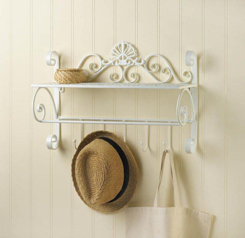Image 0 of White Flourish Wall Shelf w/ 5 Small Hooks for Hanging Towels, Hats, Handbags